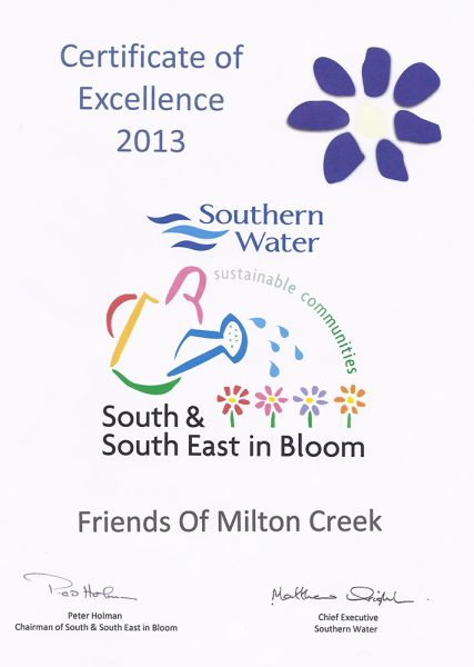 2013 South East in Bloom – Certificate of Excellence